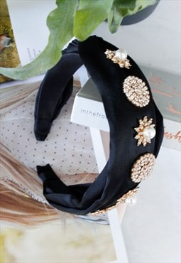 Black Satin Plaited Rhinestone Faux Pearl Jewelled Head Band