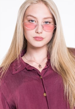 Retro Slim Cat Eye Oval Pink Lenses Sunglasses