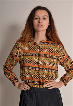 Vintage 80s Satin Abstract patterned Shirt in Brown Gold