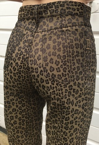 WOMENS VINTAGE 90S FENDI JEANS BROWN LEOPARD PRINT TROUSERS