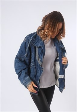 Denim Jacket SHERPA lined Oversized Relaxed fit UK 12 (EE1H)
