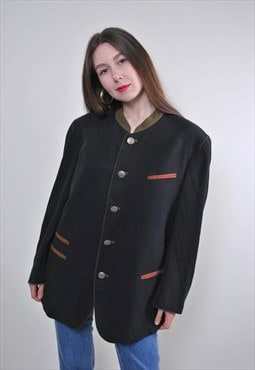 Women vintage evening formal suit black blazer jacket