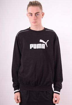 Puma Mens Vintage Sweatshirt Jumper Large Black 90s