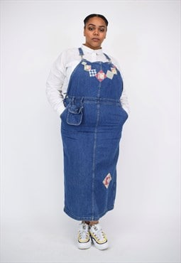 Vintage 90's Long Denim Patch Work Pinafore Dress