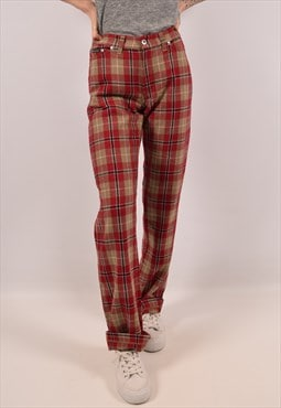 Vintage Dolce & Gabbana Casual Trousers Check Red