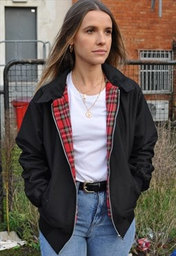 New Womens Tartan Harrington Mod Bomber Jacket Coat