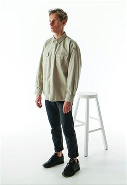Oversized Beige Button Up / Warm Button Up Shirt