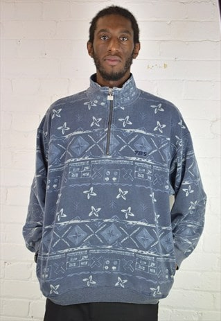VINTAGE 90'S PATTERNED 1/4 ZIP JUMPER