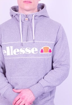 Vintage Ellesse 1/4 Zip Hooded Sweatshirt in Grey