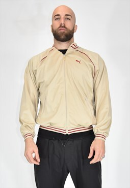 PUMA sporty beige polyester sweatshirt with bands