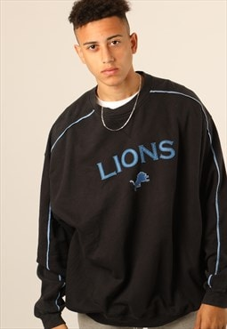 Vintage NFL Lions Embroidered Spell Out Sweatshirt