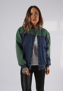 Vintage Denim Bomber Jacket Oversized Fitted UK 12 (HPAD)