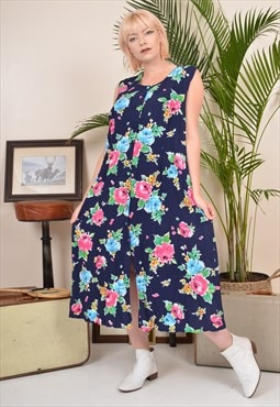 Vintage 90s Floral Print Button-through Midi Summer Dress