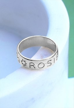 Silver Personalised Name Band Ring Mood Good Holly St Clair