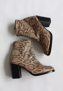 Brown Snake Print Leather Mid Heels boots