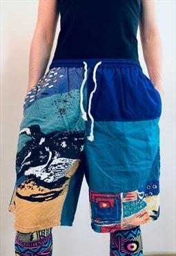 Fresh RETRO Surfing neon Shorts swim blue England 80s / 90s