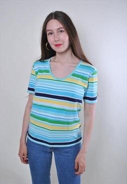 Women vintage striped multicolor holiday tshirt
