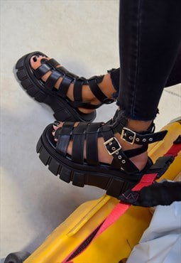 Super Chunky Caged Platform Sandals - Black PU
