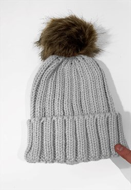 Contrast Faux Fur Bobble Knitted Ribbed Beanie Hat - Grey