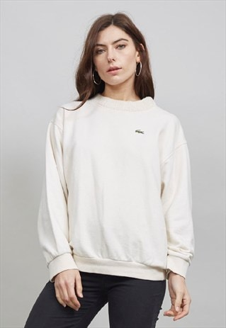VINTAGE LACOSTE 90'S CABLE KNIT COLLARED CREAM SWEATSHIRT