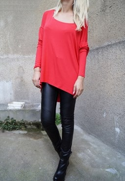 Red Drapped Top Maxi Tunic Asymmetric Blouse F1596