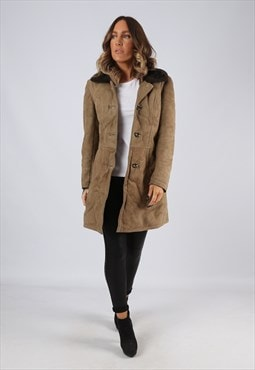 Sheepskin Suede Leather Shearling Coat Short UK 10 (LJ4H)