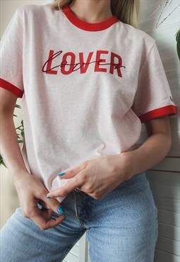 LOVER Organic Ringer Slogan T Shirt in Pink and Red