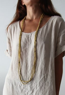 Wood beaded yellow long necklaces