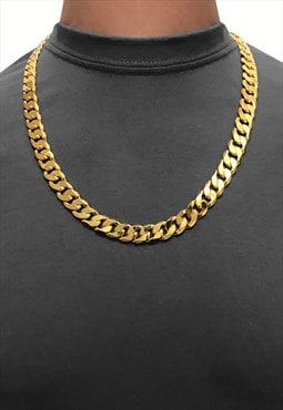 "12mm 30"" 18K Gold Plated Wide Chunky Curb Necklace Chain"
