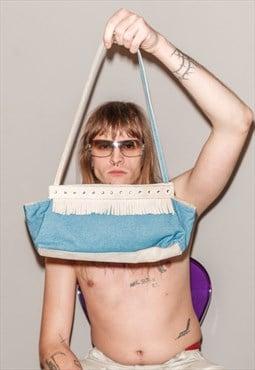 Vintage Y2K denim / suede shoulder bag in blue / beige