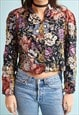 80'S RETRO FLORAL PRINT PADDED CROP JACKET