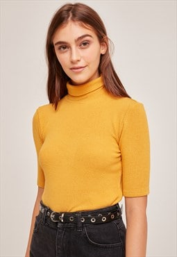 Turtleneck t-shirt - yellow