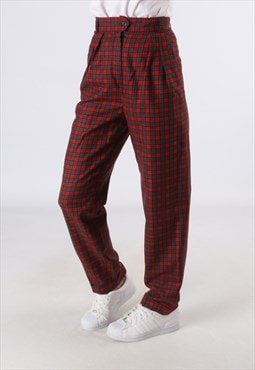 High Waisted Trousers Tartan Checked Wide Tapered 8 XS (HH3K