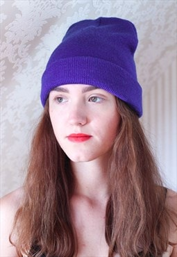 Bright blue knitted long beanie