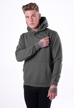 Essential Blank Pullover Hoody - Charcoal Heather Grey