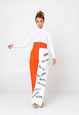 Tone Orange and White  Sublimation Print Palazzo