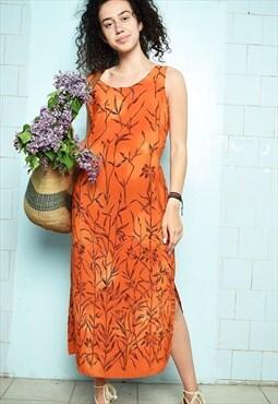 Vintage 90s minimalist floral festival Boho chic maxi dress