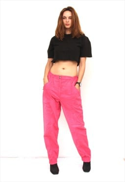 80s Pink Trousers tapered Boyfriend Pants Casual Pants L