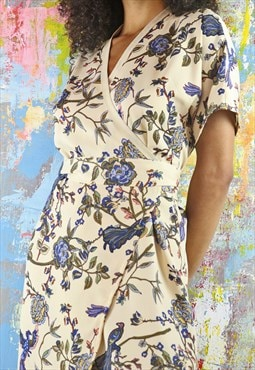 Midi Wrap Dress in phoenix print