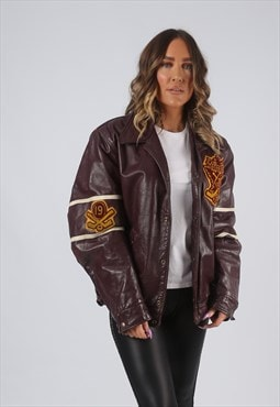 RARE Leather Jacket Bomber Oversized VARSITY UK 14 16 (LK7E)