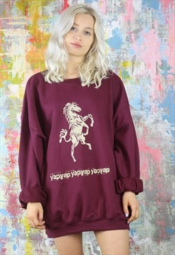 Oversized sweat with gold horse