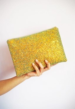 Glitter Clutch Bag in Rust Gold