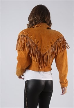 Suede Leather Fringe Tassel Fitted Jacket Vintage UK 10 CWCU