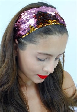 Pink & Gold Sequin Stretch Wide Festival Bandana Head Band
