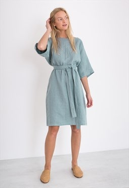 ISABEL Linen Kimono Dress / Midi Summer Dress