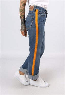 Levis 501's Denim Jeans REWORKED Side Stripe UK 8 - 10 (L3AB