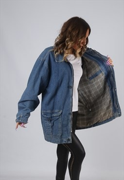 Denim Jacket Lined Long Oversized Longline UK 16 (AK7M)