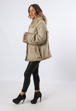 Sheepskin Shearling Suede Short Coat UK 18 (LHCJ)