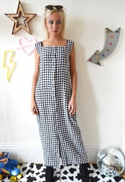 Vintage 90's Laura Ashley Gingham Linen Button-Up Maxi Dress