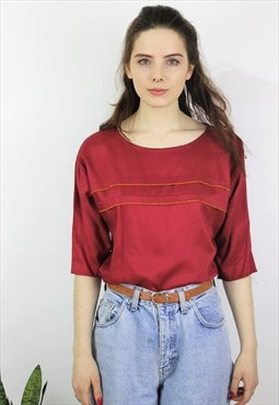 Vintage 1980s Burgundy Three Quarter Sleeve Top